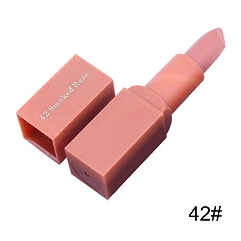 脆い学生恐怖化粧品マットリップスティックラスティングセクシーな唇の色の女性のリップメイクアップ口紅天然保湿防水ロング