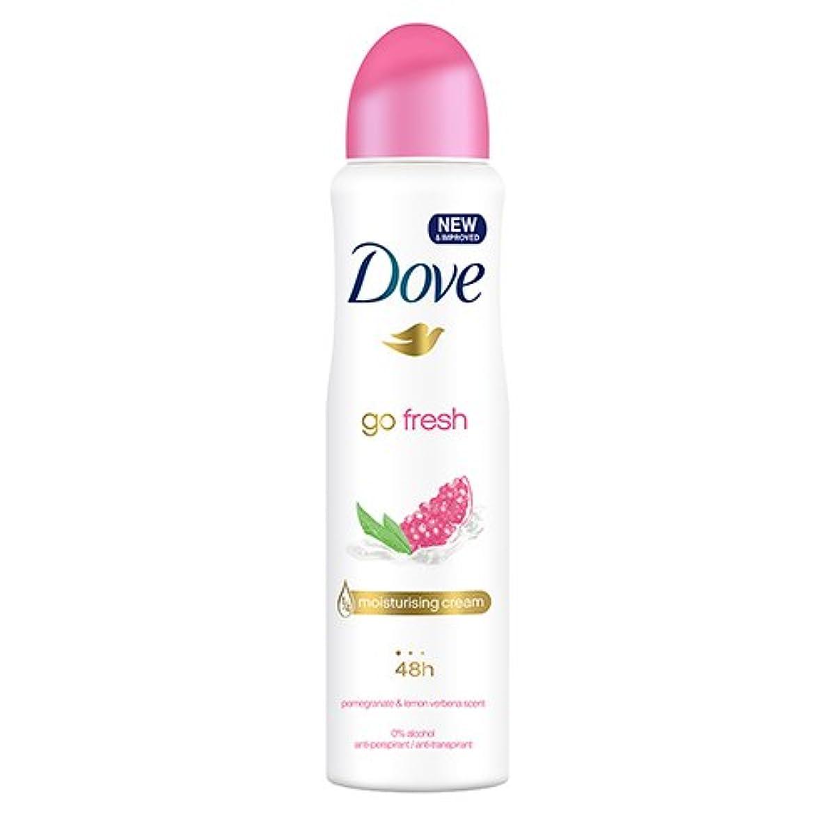 ダウン政治家の薄暗いDove Go Fresh Spray Antiperspirant Deodorant, Pomegranate and Lemon Verbena, 150ml