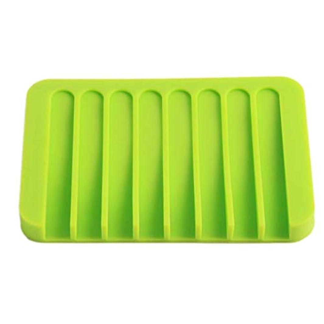 抑止する父方のインデックスOnior プレミアム品質のシリコーン浴室柔軟な石鹸皿ソープホルダー収納ソープボックスプレートトレイ排水、グリーン