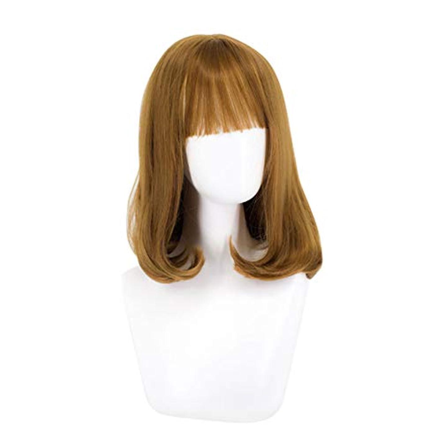 カテナ兵器庫含むウィッグミディアムロングヘアー女性のためのふわふわウェーブのかかった髪かつら自然に見える耐熱性のある合成ファッションウィッグミディアムロングヘアーカーリーかつら,Yellow
