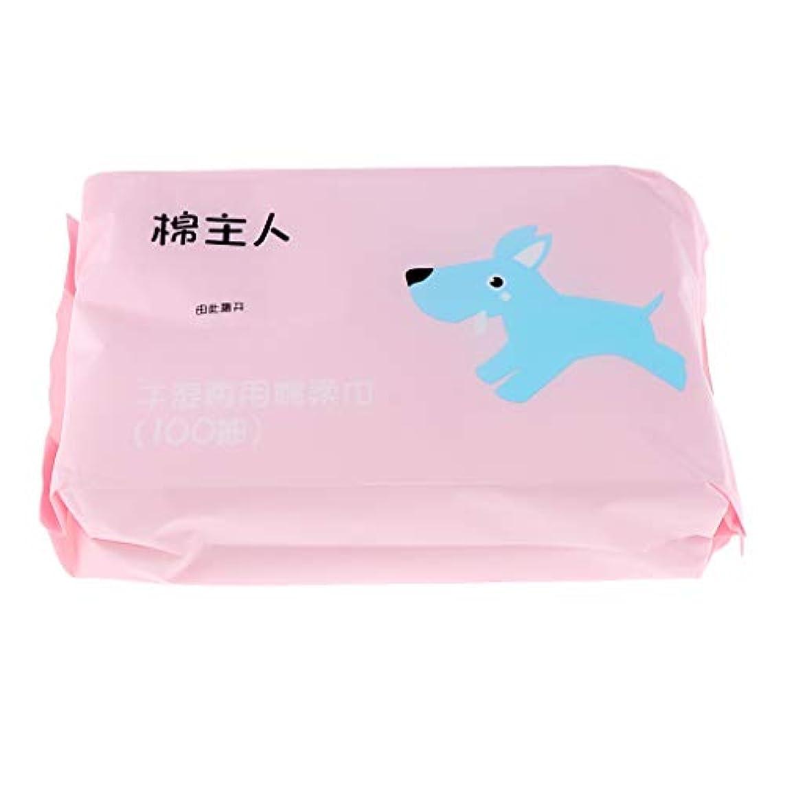 慣性対処する取り除く約100枚 使い捨て フェイシャルタオル クリーニング フェイスタオル 化粧品 ソフト 2色選べ - ピンク