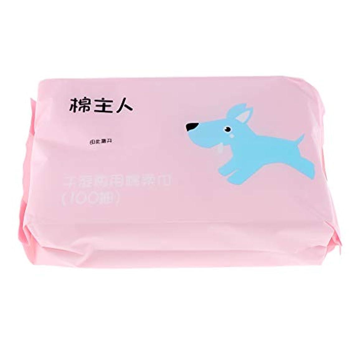 干渉推進、動かすチートF Fityle 約100枚 使い捨て フェイシャルタオル クリーニング フェイスタオル 化粧品 ソフト 2色選べ - ピンク