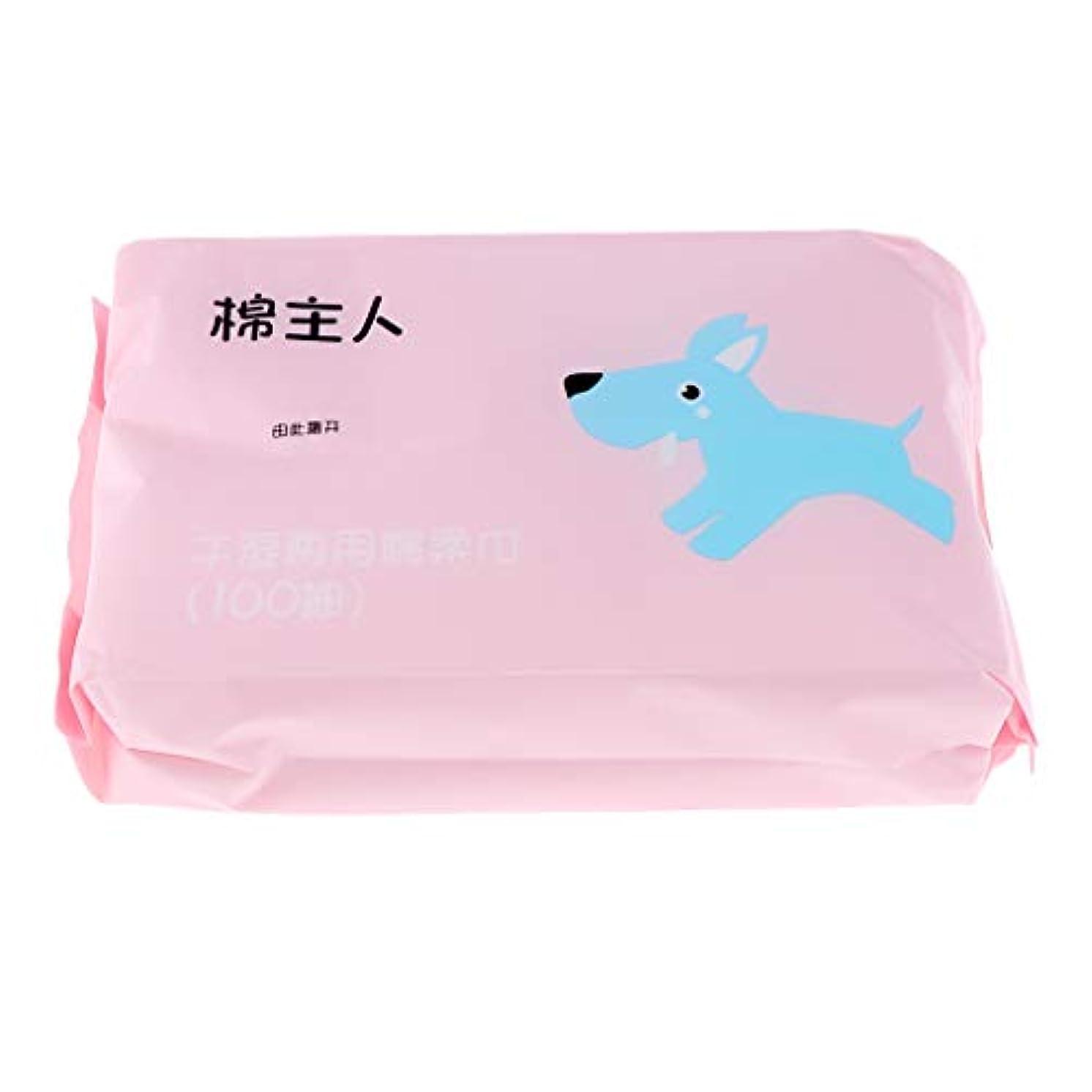 お客様スタウト記事F Fityle 約100枚 使い捨て フェイシャルタオル クリーニング フェイスタオル 化粧品 ソフト 2色選べ - ピンク