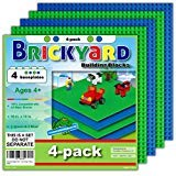 (4-pack, Green, Blue) - [Improved Design] 4 Baseplates, 25cm x 25cm Large Thick Base Plates for Building Bricks by Brickyard, Perfect for Activity Table or Displaying Compatible Construction Toys (2 Green, 2 Blue)