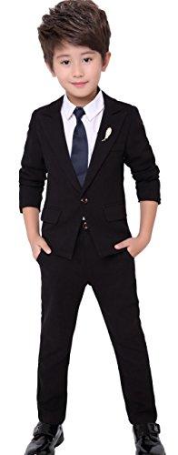 Cloudkids ボーイズ フォーマル スーツ 4点セット キッズ 子供服 ジャケット ロングパンツ シャツ ネクタイ ジュニア 卒業式 入学式 結婚式 発表会 黒 160