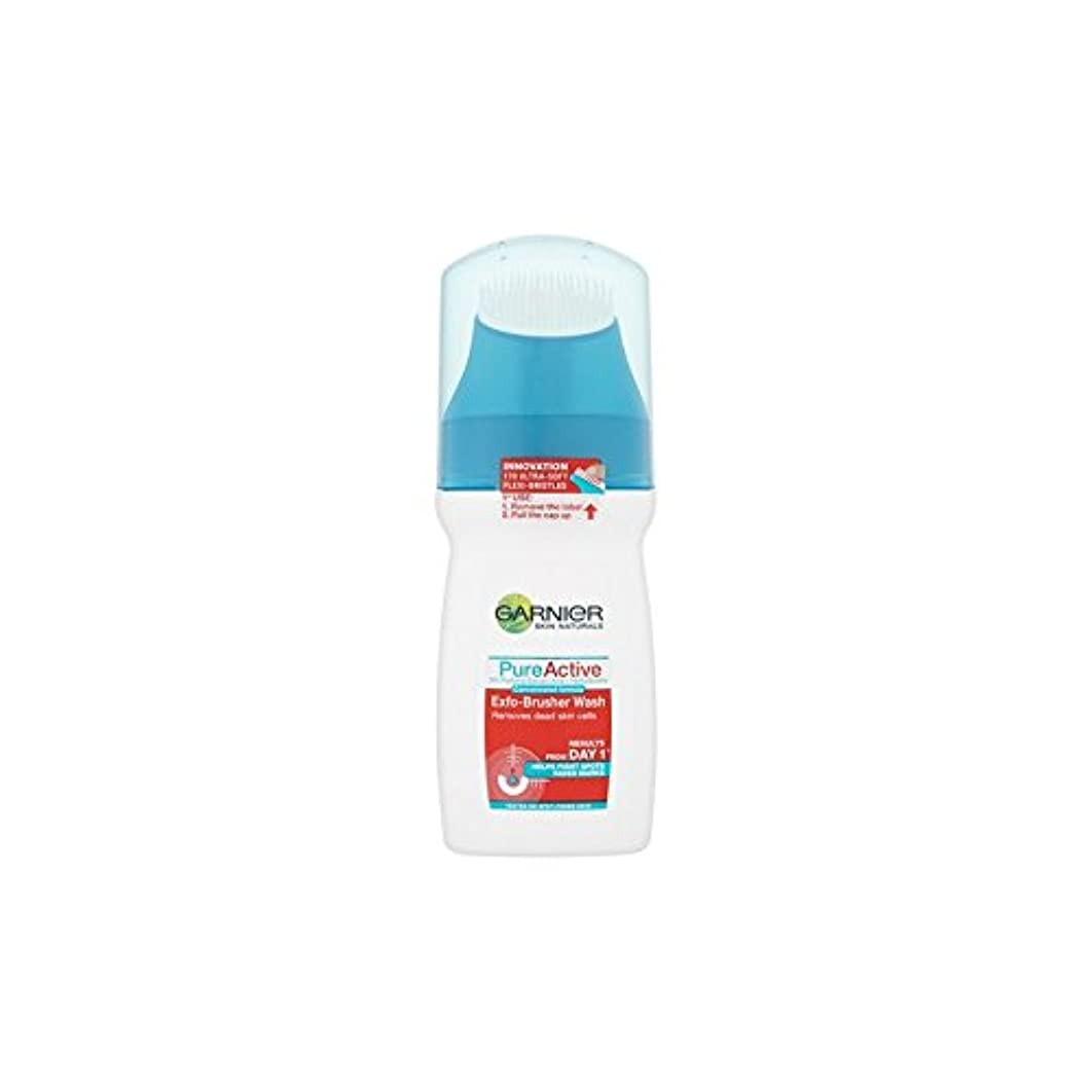排気リムマリンガルニエ純粋な活性-ブラッシャーの洗顔(150ミリリットル) x4 - Garnier Pure Active Exfo-Brusher Face Wash (150ml) (Pack of 4) [並行輸入品]