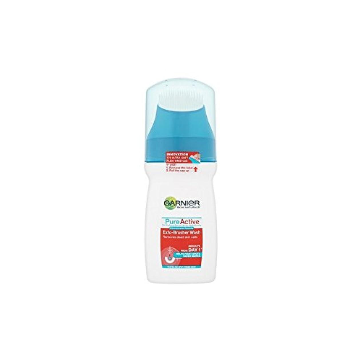 滅びる愛情緩やかなガルニエ純粋な活性-ブラッシャーの洗顔(150ミリリットル) x4 - Garnier Pure Active Exfo-Brusher Face Wash (150ml) (Pack of 4) [並行輸入品]