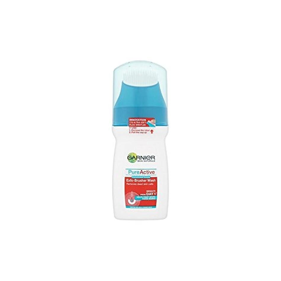Garnier Pure Active Exfo-Brusher Face Wash (150ml) (Pack of 6) - ガルニエ純粋な活性-ブラッシャーの洗顔(150ミリリットル) x6 [並行輸入品]