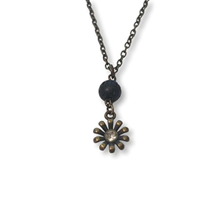 楕円形無秩序火山学Lava Stone Bead and Bronze-tone Rhinestone Flower Aromatherapy Necklace Essential Oil Diffuser Pendant Jewelry...