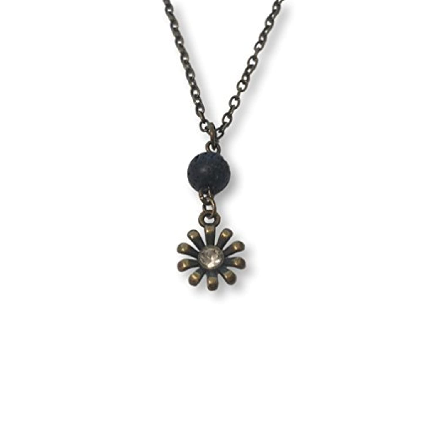 歴史家手伝う追放Lava Stone Bead and Bronze-tone Rhinestone Flower Aromatherapy Necklace Essential Oil Diffuser Pendant Jewelry...