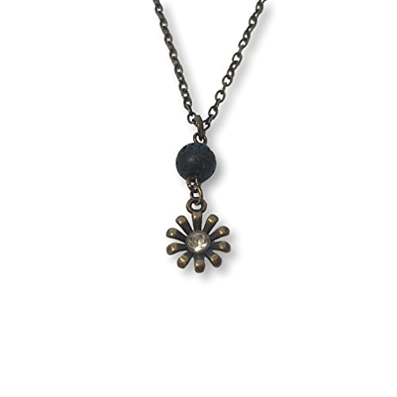 一緒刈る依存Lava Stone Bead and Bronze-tone Rhinestone Flower Aromatherapy Necklace Essential Oil Diffuser Pendant Jewelry...