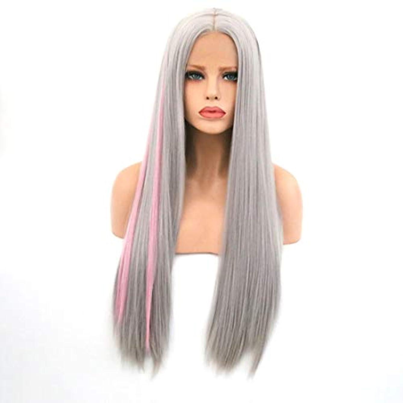 まともなサラミ意気揚々Kerwinner 女性のためのロングストレートヘアフロントレース化学繊維ウィッグヘッドギアをかつら