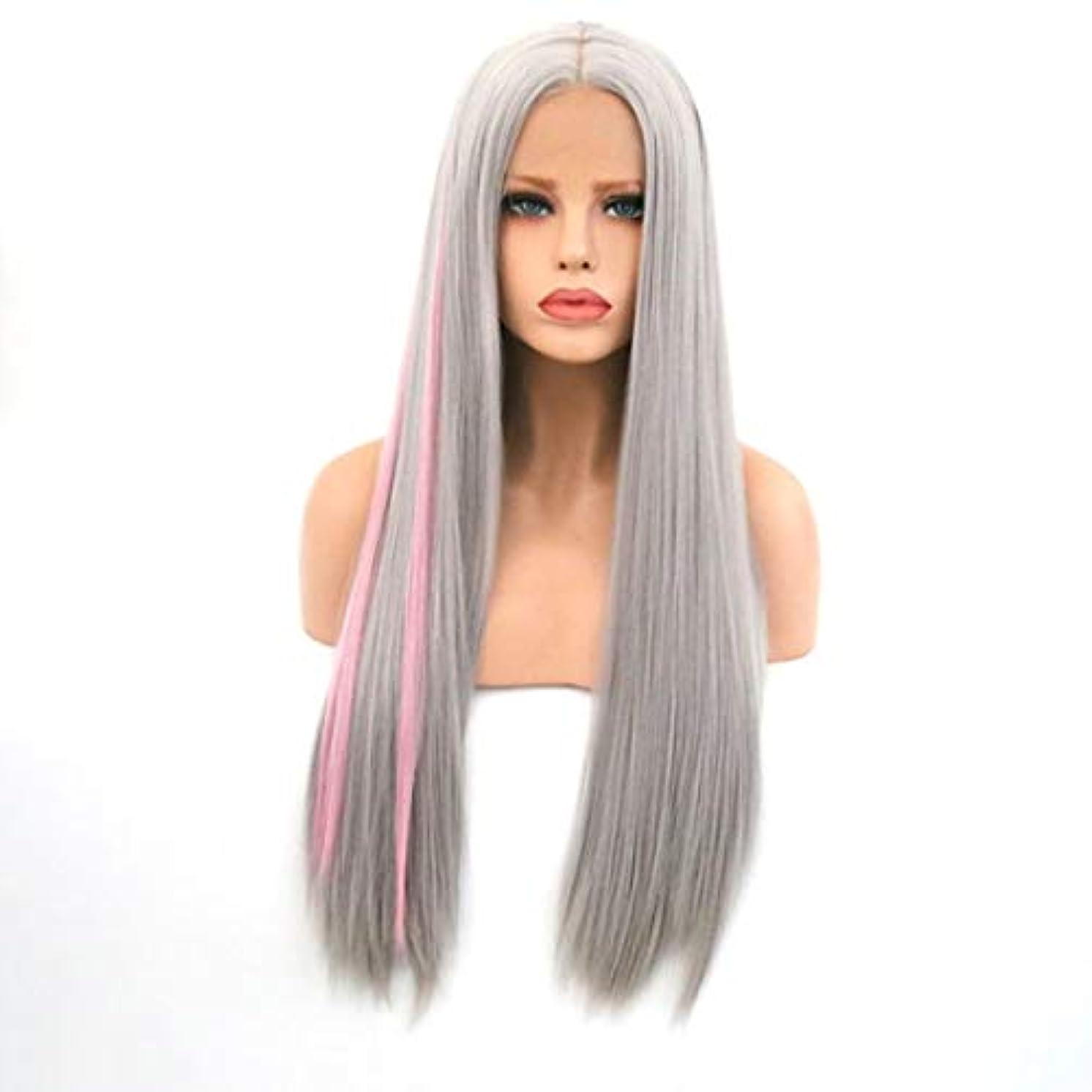 村スローガン繕うKerwinner 女性のためのロングストレートヘアフロントレース化学繊維ウィッグヘッドギアをかつら