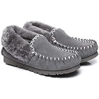 UGG Slippers Women Australian Premium Soft Sheepskin Wool Winter Home Cozy Slippers Popo Moccasin Shoes