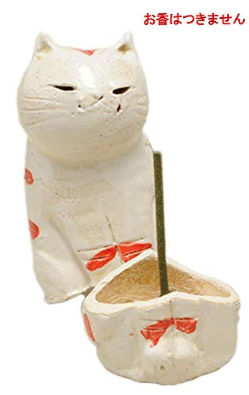 島ねこ 島しま立ちネコ 香炉(大)(赤) [H11cm] HANDMADE プレゼント ギフト 和食器 かわいい インテリア