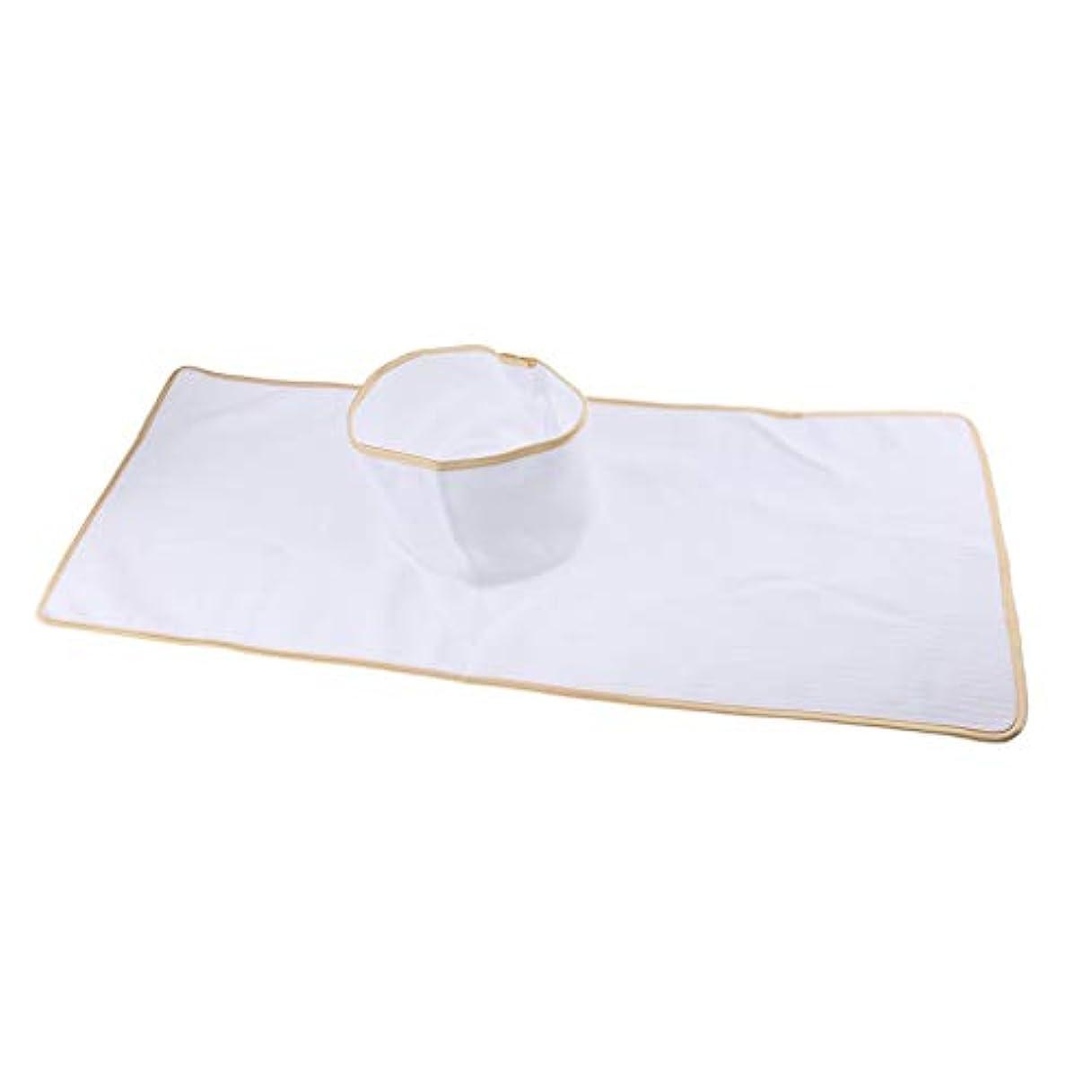 操縦する長方形無傷マッサージテーブルカバー シート パッド 顔の穴付き 再使用可能 約90×35cm 全3色 - 白