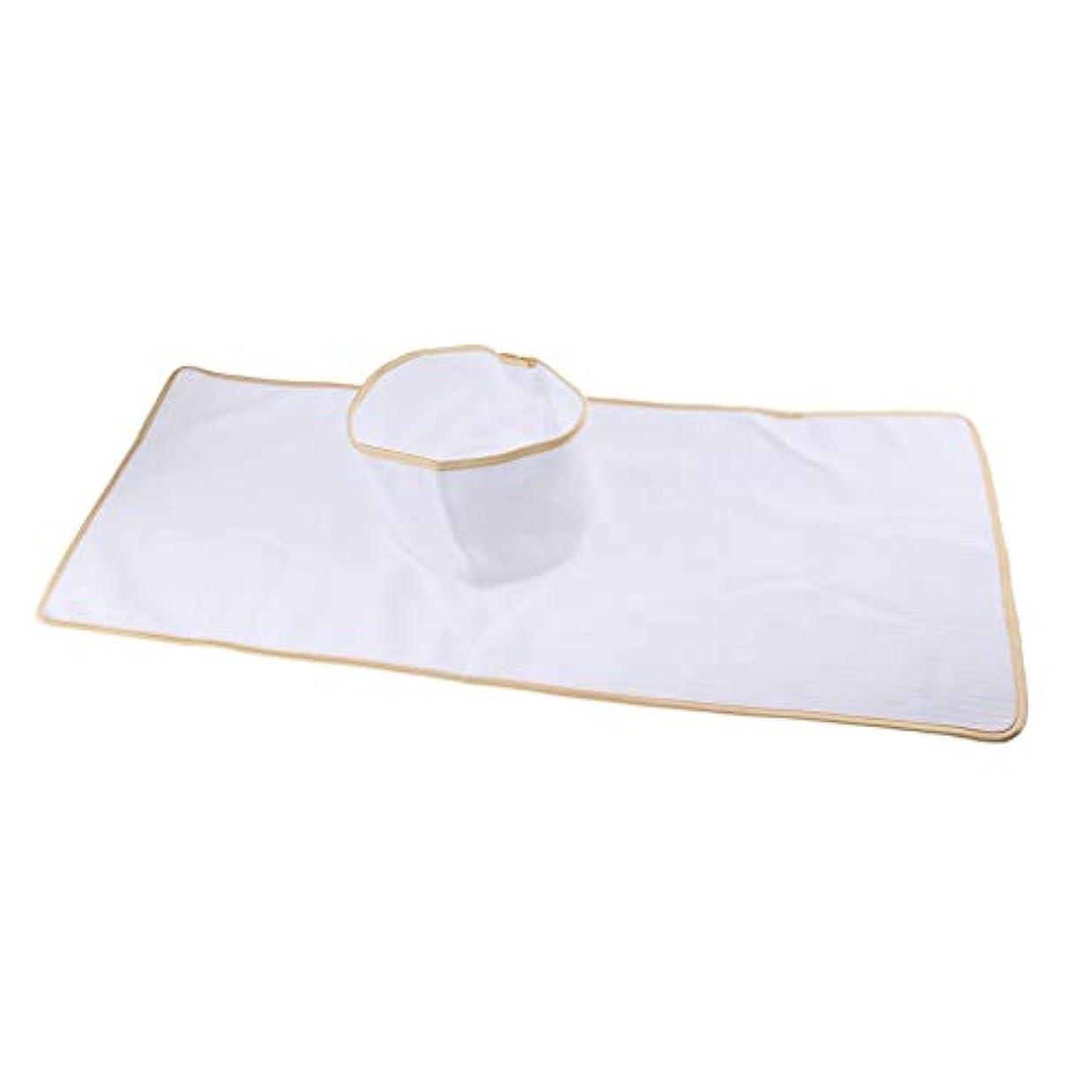 ミュート健全解明するマッサージテーブルカバー シート パッド 顔の穴付き 再使用可能 約90×35cm 全3色 - 白
