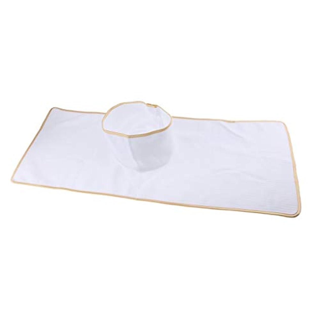 処理実行可能鳴らすマッサージテーブルカバー シート パッド 顔の穴付き 再使用可能 約90×35cm 全3色 - 白