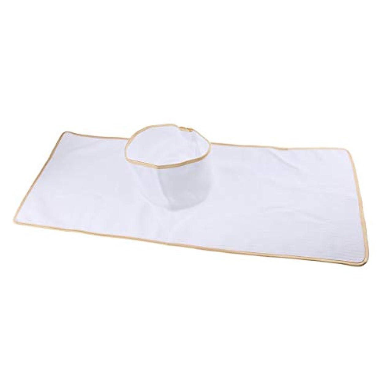 拡声器豊富なスクレーパーマッサージテーブルカバー シート パッド 顔の穴付き 再使用可能 約90×35cm 全3色 - 白