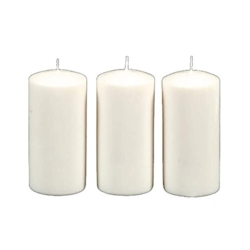 海岸ジャーナリストはがきDarice 3-Piece Unscented Pillar Candles, 3 Inch by 6-Inch, White by Darice