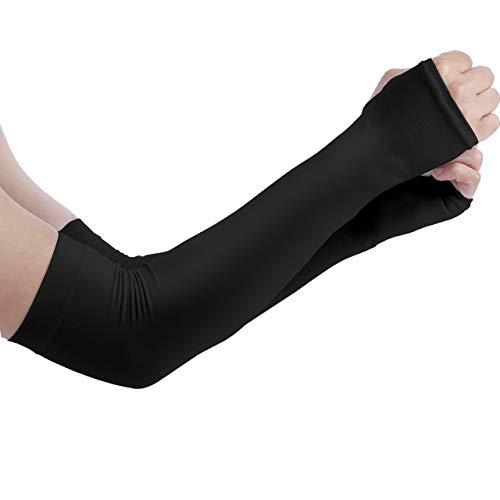 BINMAアームカバー 腕カバー 接触冷感 アームスリーブ UVカット UPF50+ 日焼け防止 紫外線防止 吸汗速乾 男女兼用 (ブラック)