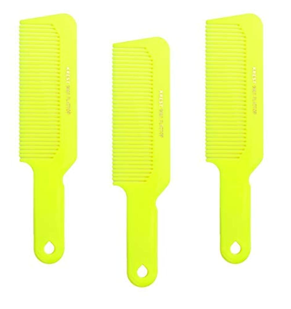 ために特派員抱擁Hair Comb 8-3/4 Flattop Hair Cutting Comb. Barbers Hairdresser Comb. Model 9001. 3 Combs (Neon Yellow) [並行輸入品]