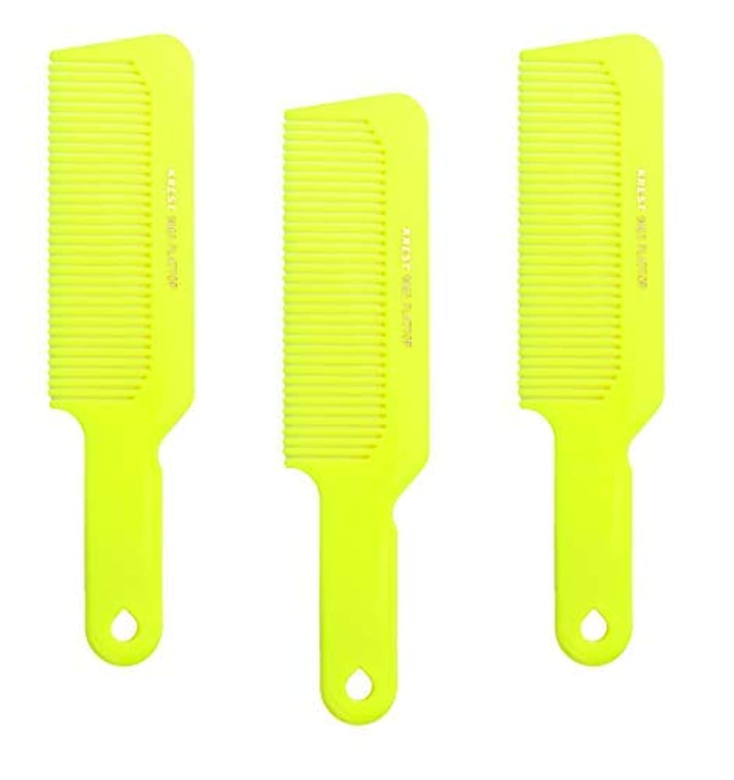 Hair Comb 8-3/4 Flattop Hair Cutting Comb. Barbers Hairdresser Comb. Model 9001. 3 Combs (Neon Yellow) [並行輸入品]