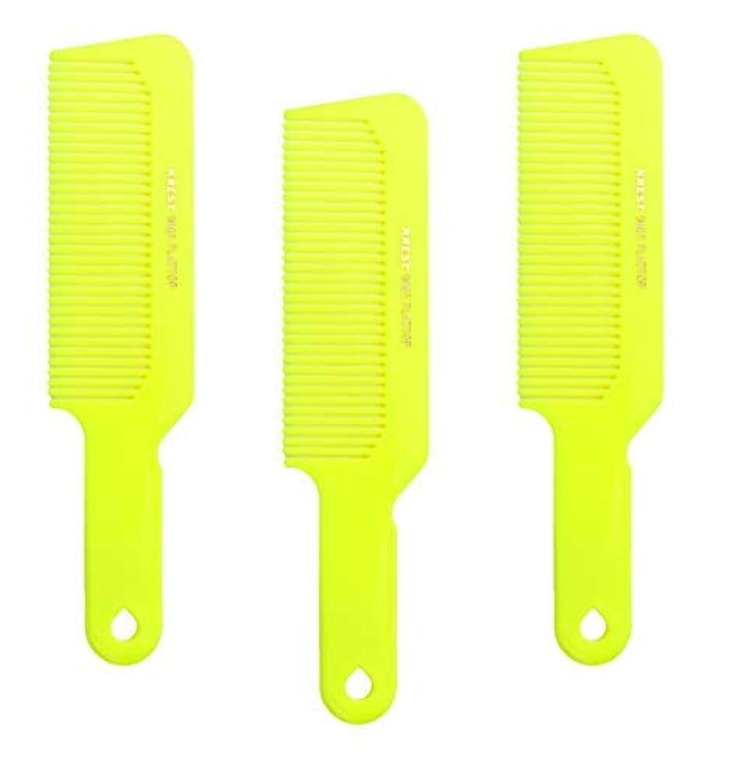 もつれ速報ブルゴーニュHair Comb 8-3/4 Flattop Hair Cutting Comb. Barbers Hairdresser Comb. Model 9001. 3 Combs (Neon Yellow) [並行輸入品]