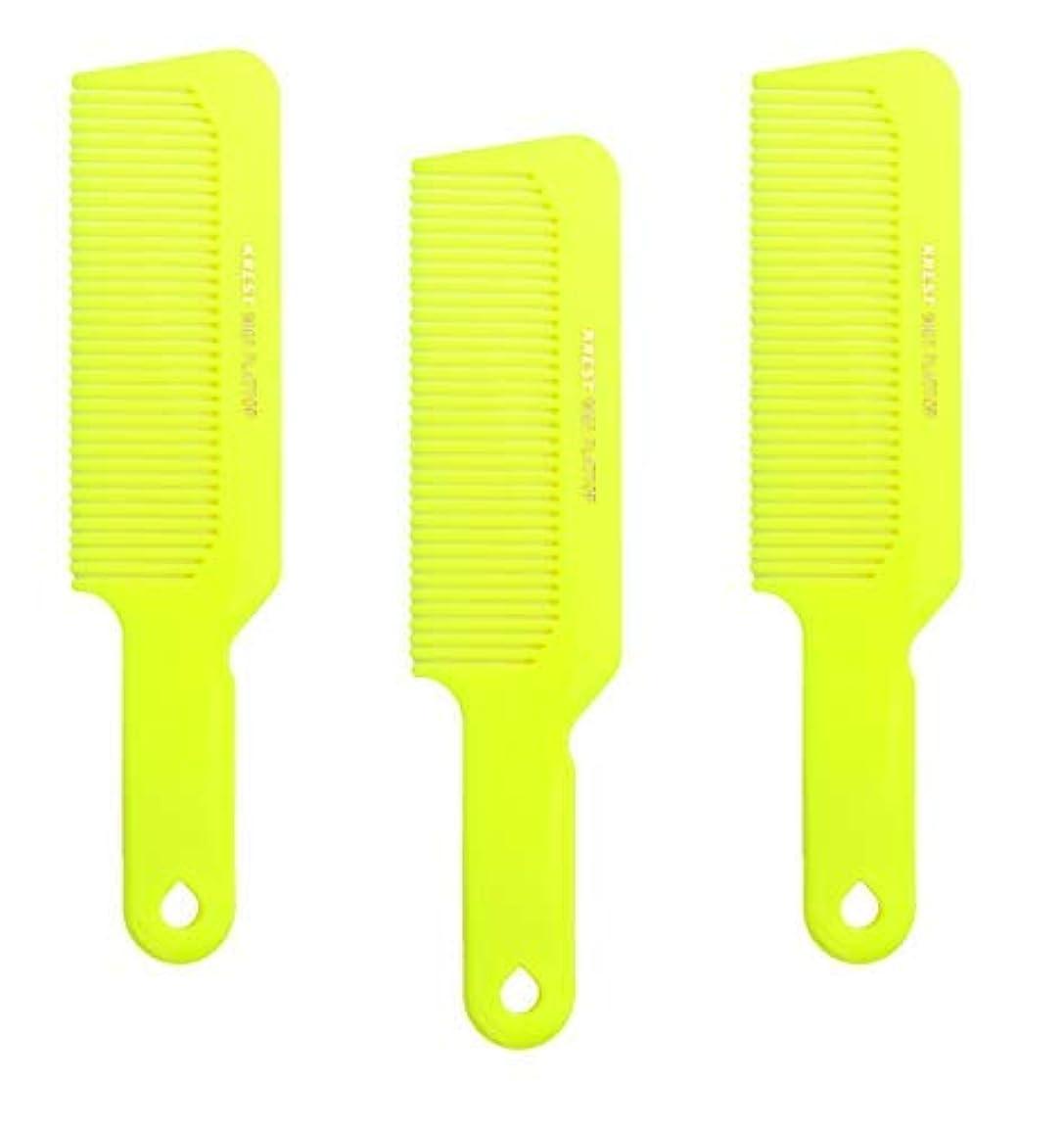 札入れターゲット頼るHair Comb 8-3/4 Flattop Hair Cutting Comb. Barbers Hairdresser Comb. Model 9001. 3 Combs (Neon Yellow) [並行輸入品]