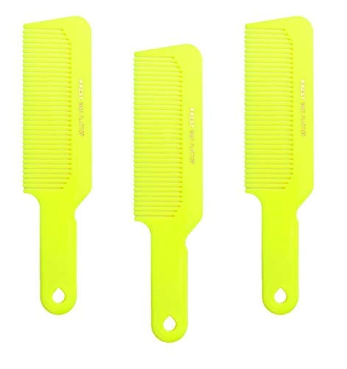 教救援不透明なHair Comb 8-3/4 Flattop Hair Cutting Comb. Barbers Hairdresser Comb. Model 9001. 3 Combs (Neon Yellow) [並行輸入品]