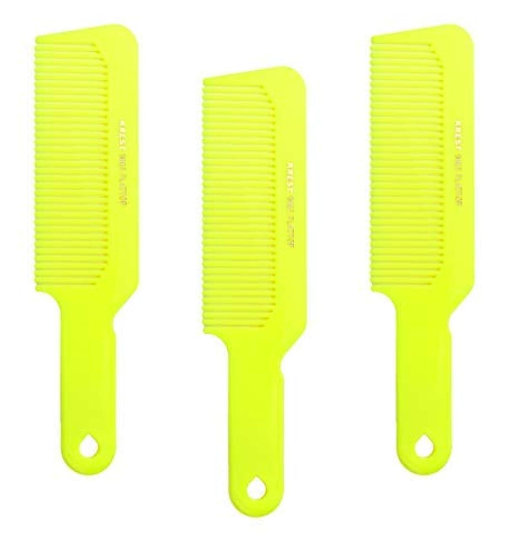 寺院定義取り壊すHair Comb 8-3/4 Flattop Hair Cutting Comb. Barbers Hairdresser Comb. Model 9001. 3 Combs (Neon Yellow) [並行輸入品]