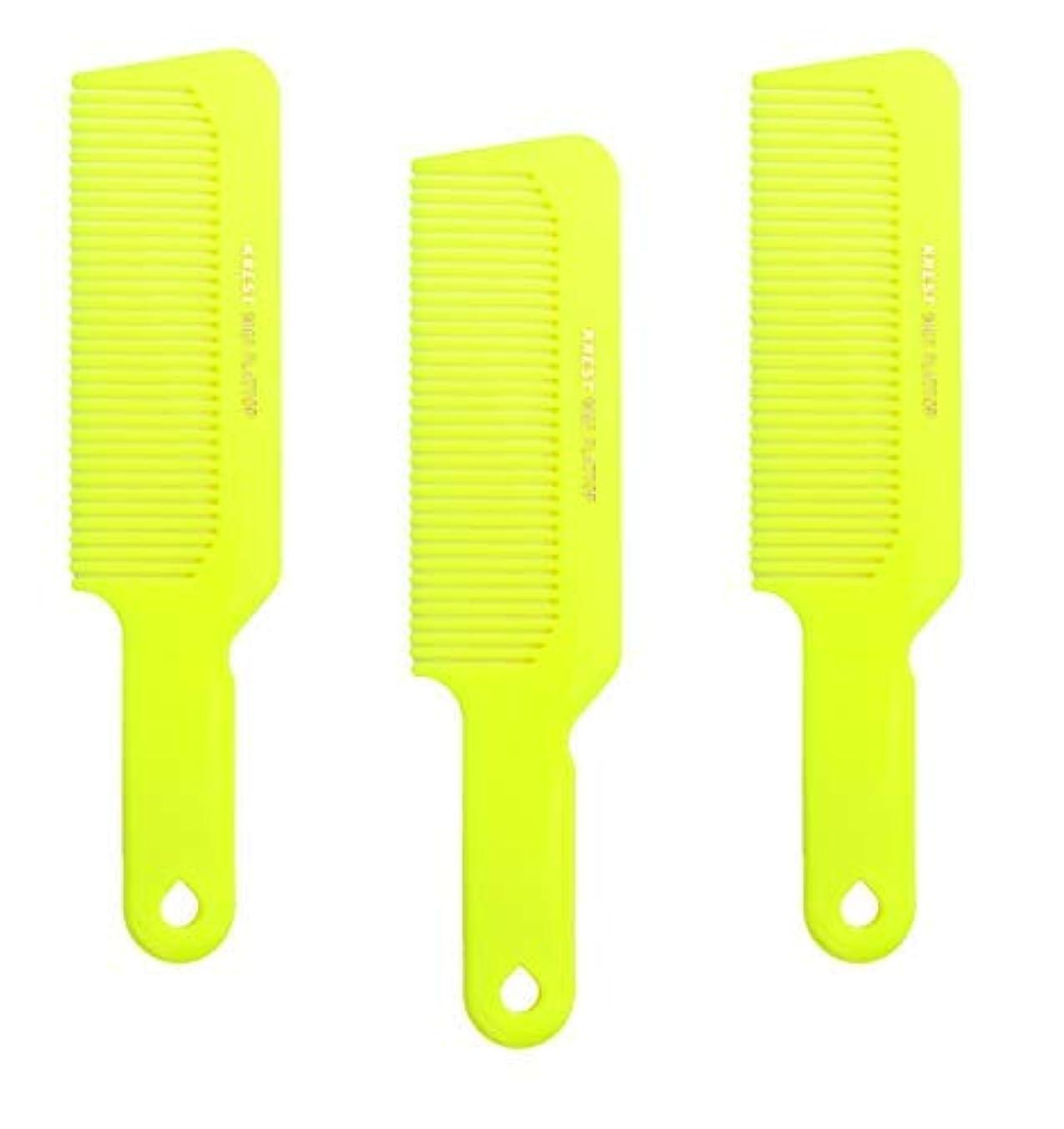 軽くこどもセンター投資するHair Comb 8-3/4 Flattop Hair Cutting Comb. Barbers Hairdresser Comb. Model 9001. 3 Combs (Neon Yellow) [並行輸入品]