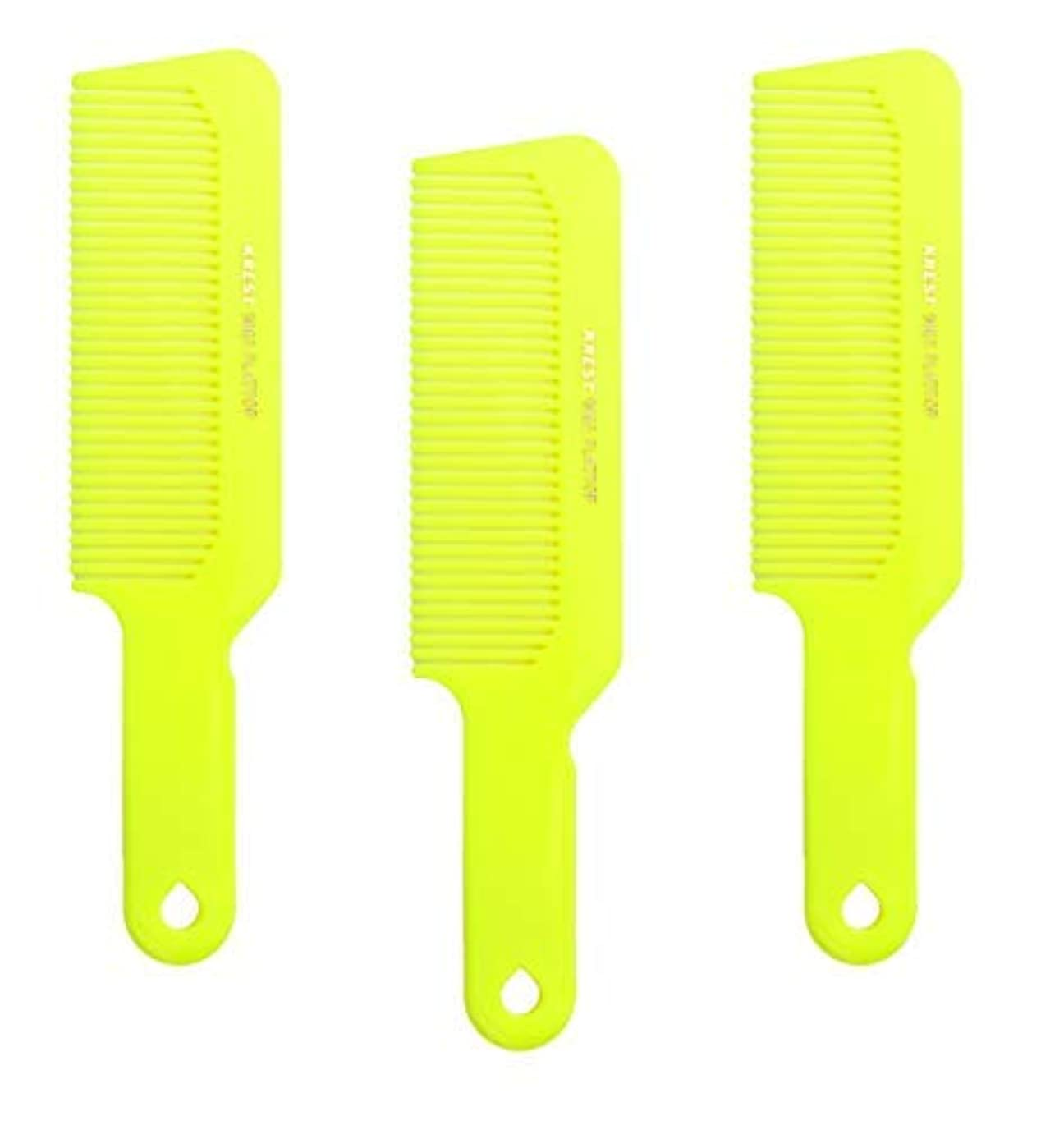 証拠引き付ける未接続Hair Comb 8-3/4 Flattop Hair Cutting Comb. Barbers Hairdresser Comb. Model 9001. 3 Combs (Neon Yellow) [並行輸入品]