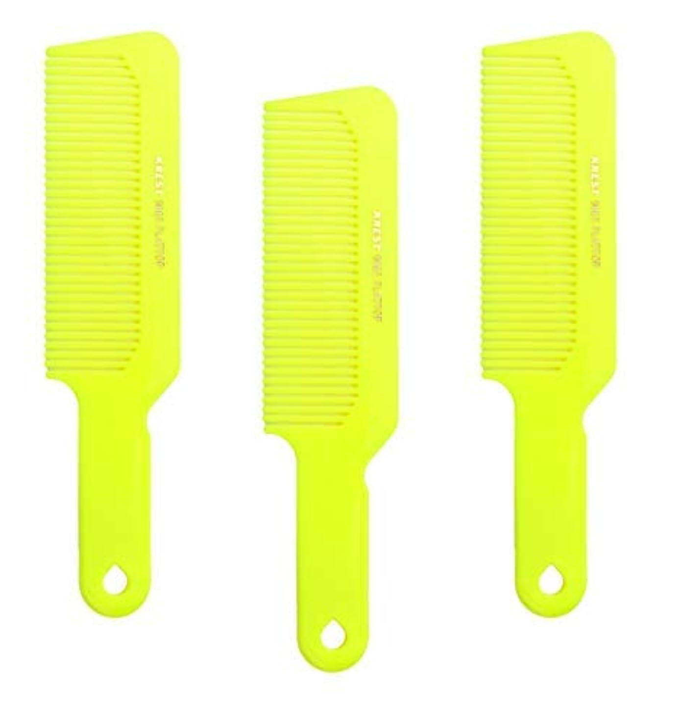 フォルダタクシー韓国語Hair Comb 8-3/4 Flattop Hair Cutting Comb. Barbers Hairdresser Comb. Model 9001. 3 Combs (Neon Yellow) [並行輸入品]