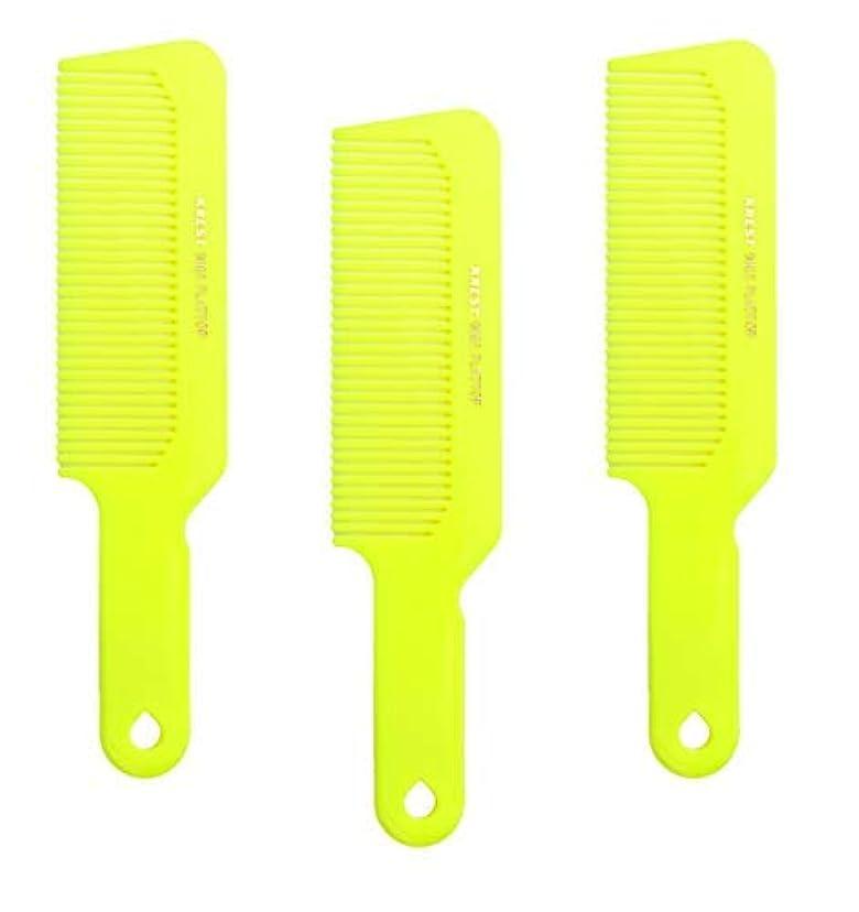 スーパーマーケットベイビー普通のHair Comb 8-3/4 Flattop Hair Cutting Comb. Barbers Hairdresser Comb. Model 9001. 3 Combs (Neon Yellow) [並行輸入品]