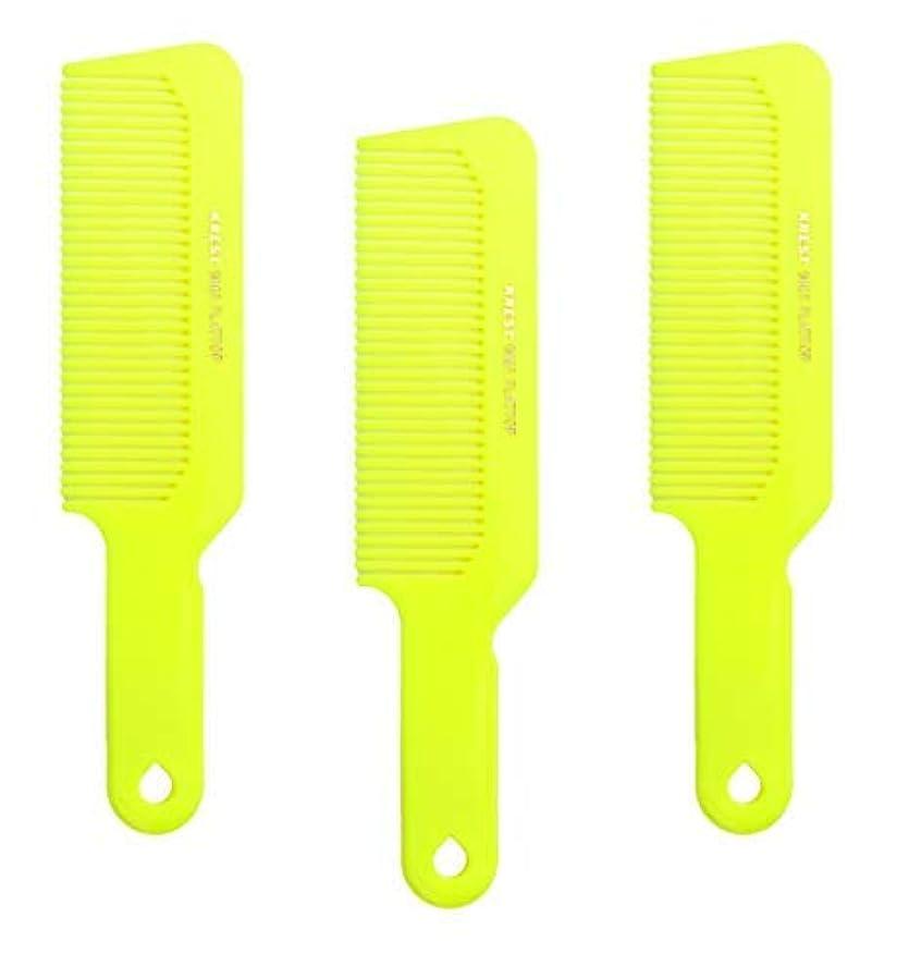 前投薬ラショナル速記Hair Comb 8-3/4 Flattop Hair Cutting Comb. Barbers Hairdresser Comb. Model 9001. 3 Combs (Neon Yellow) [並行輸入品]