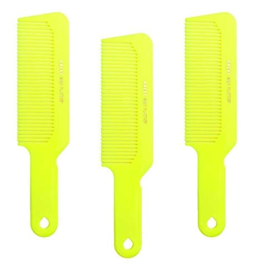 障害者シアーヒープHair Comb 8-3/4 Flattop Hair Cutting Comb. Barbers Hairdresser Comb. Model 9001. 3 Combs (Neon Yellow) [並行輸入品]