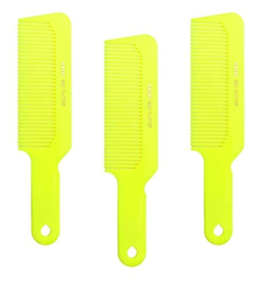 トンネル暴露する距離Hair Comb 8-3/4 Flattop Hair Cutting Comb. Barbers Hairdresser Comb. Model 9001. 3 Combs (Neon Yellow) [並行輸入品]