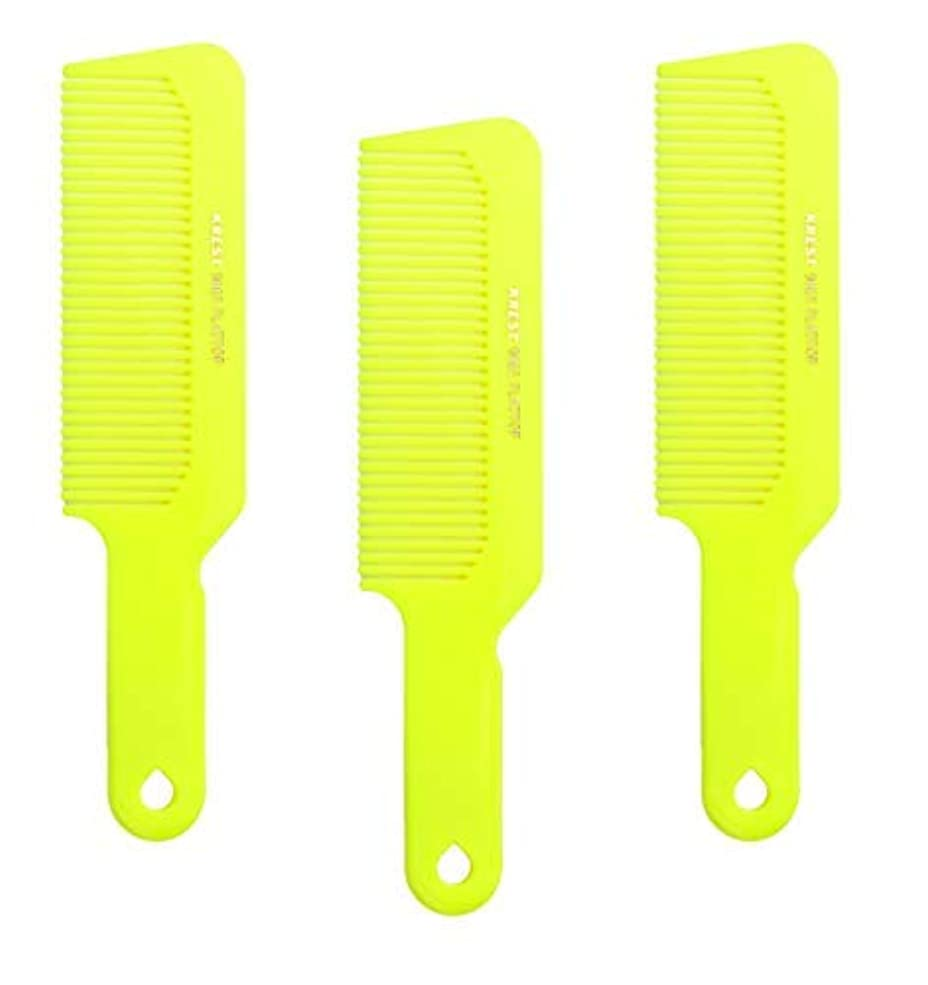 居間トリクルアクセシブルHair Comb 8-3/4 Flattop Hair Cutting Comb. Barbers Hairdresser Comb. Model 9001. 3 Combs (Neon Yellow) [並行輸入品]