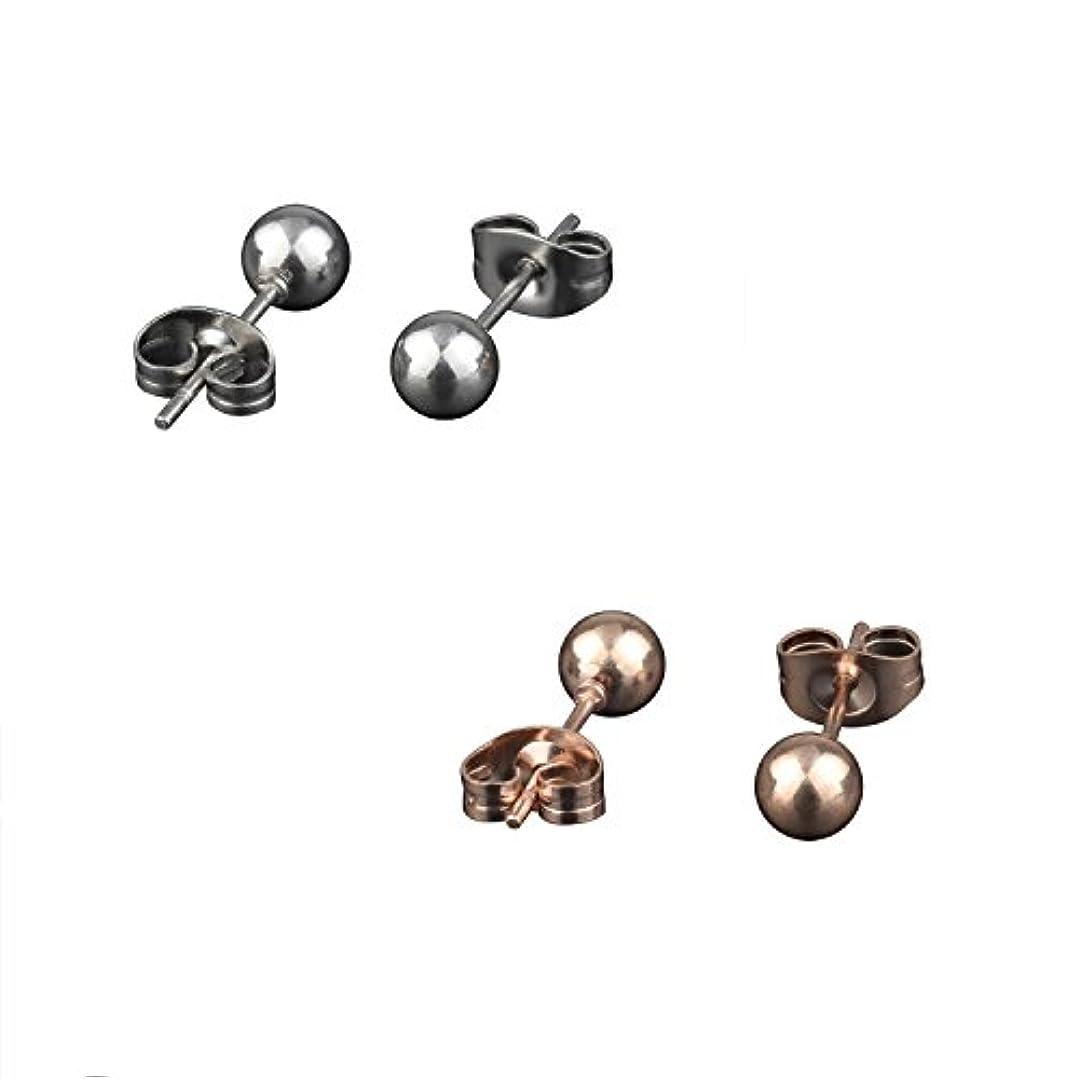 ラック柱ダースDRM 2 – 4ペア316lサージカルステンレススチールラウンド5 mmボールスタッドイヤリング ブラック DRM0-458