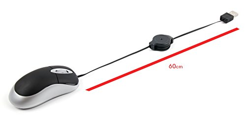 """DURAGADGET Miniノートパソコンマウスwith Retractable Cable for Lenovo ThinkPad t420s / Lenovo y50–70/ Lenovo Flex 2d ( 14インチ) / Lenovo g50–30/ Lenovo z51/ Lenovo z41/ Lenovo IdeaPad 10014"""" / Lenovo IdeaPad 10015"""""""