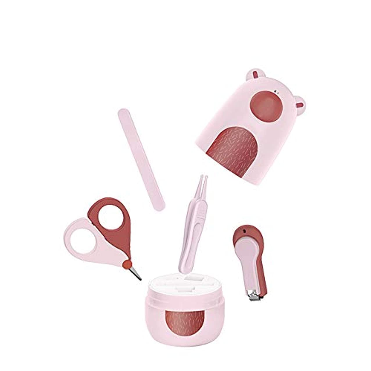 不調和端紳士赤ん坊の釘用具セット漫画くまの爪切りセット収納ケース付き、ピンク、4点セット