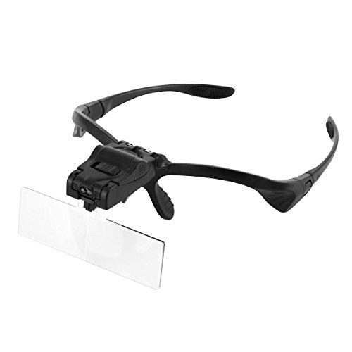 oenbopo ルーペ メガネ ヘッドルーペ LED付き1.0倍1.5倍2.0倍2.5倍3.5倍 5レンズ交換倍率角度調節 ゴムバンド メガネ両用