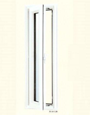 エクセルシャノン樹脂サッシ アクセントサッシシリーズ 外観色 ホワイト 内観色 ホワイト 縦すべり出し窓(単窓) E6P-03105LHLNW 外観 左吊元 高断熱透明ガラス(3mm+A12+LOW-E3mm)(アルゴンガス入り)