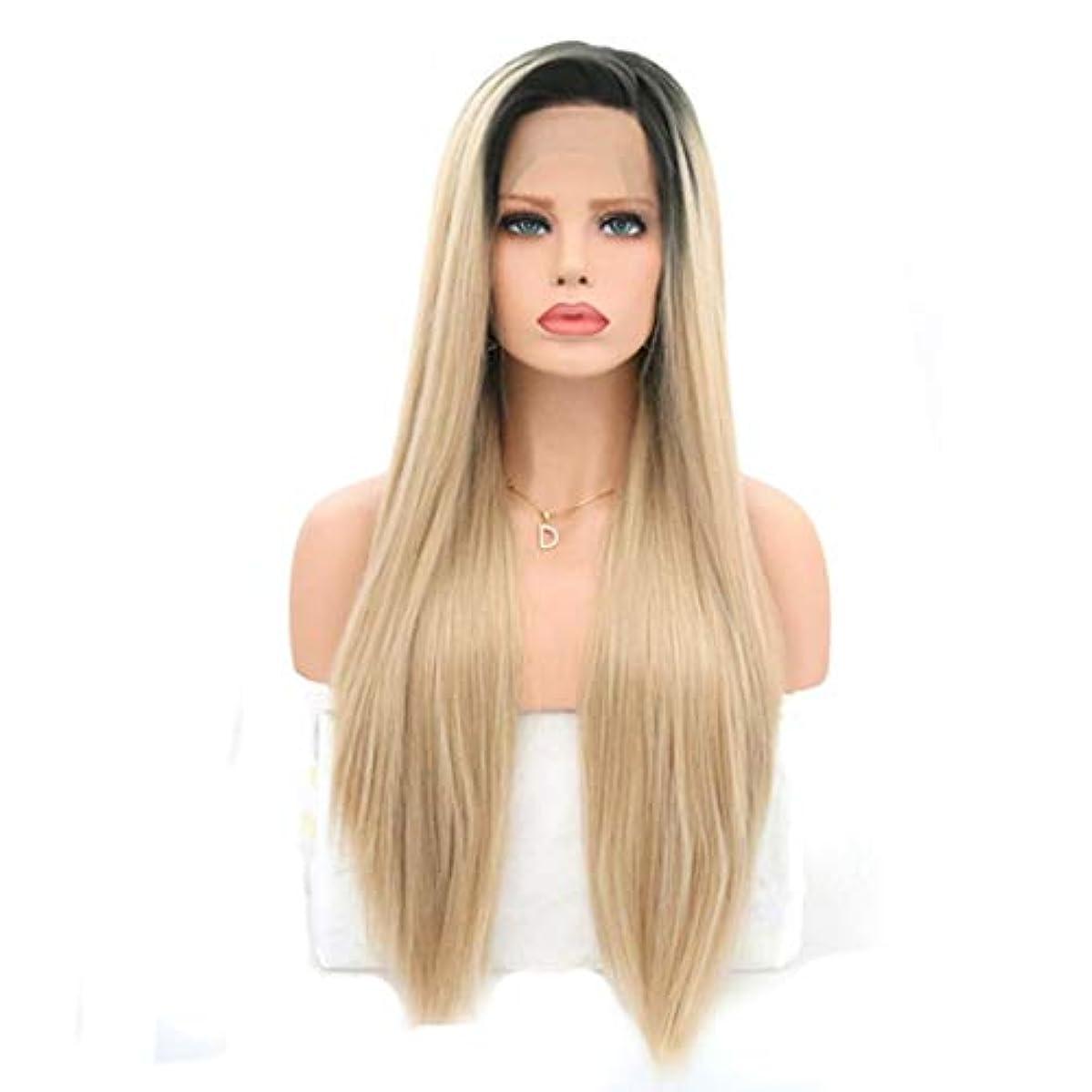 最小予言するベリKerwinner 女性のためのロングストレートかつら前髪付きかつら人工毛髪かつら自然なかつら (Size : 18 inches)