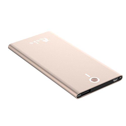 dpmkm 超薄型 モバイルバッテリー 軽量 5000mAh LEDライト付き 2.1A急速充電 iPhone/iPad/Android対応 (ローズゴールド.)