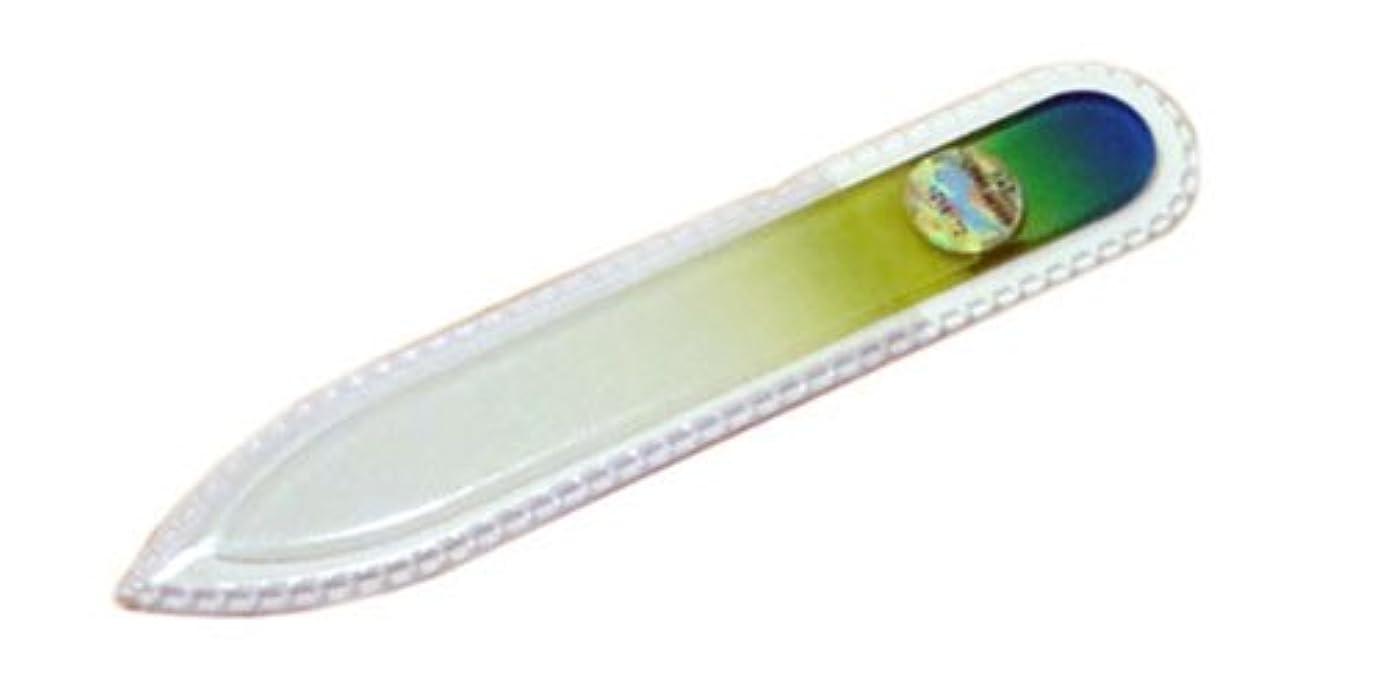 広告矢じり依存するブラジェク ガラス爪やすり 90mm 両面タイプ(グリーングラデーション #04)