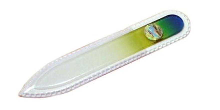 救出顕著ハンカチブラジェク ガラス爪やすり 90mm 両面タイプ(グリーングラデーション #04)