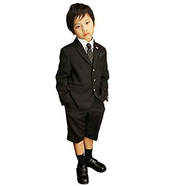 MICHIKO LONDON(ミチコロンドン) 入学式 男の子 クレリックシャツのブラックスーツ (130, シャツ:ギンガムチェック)