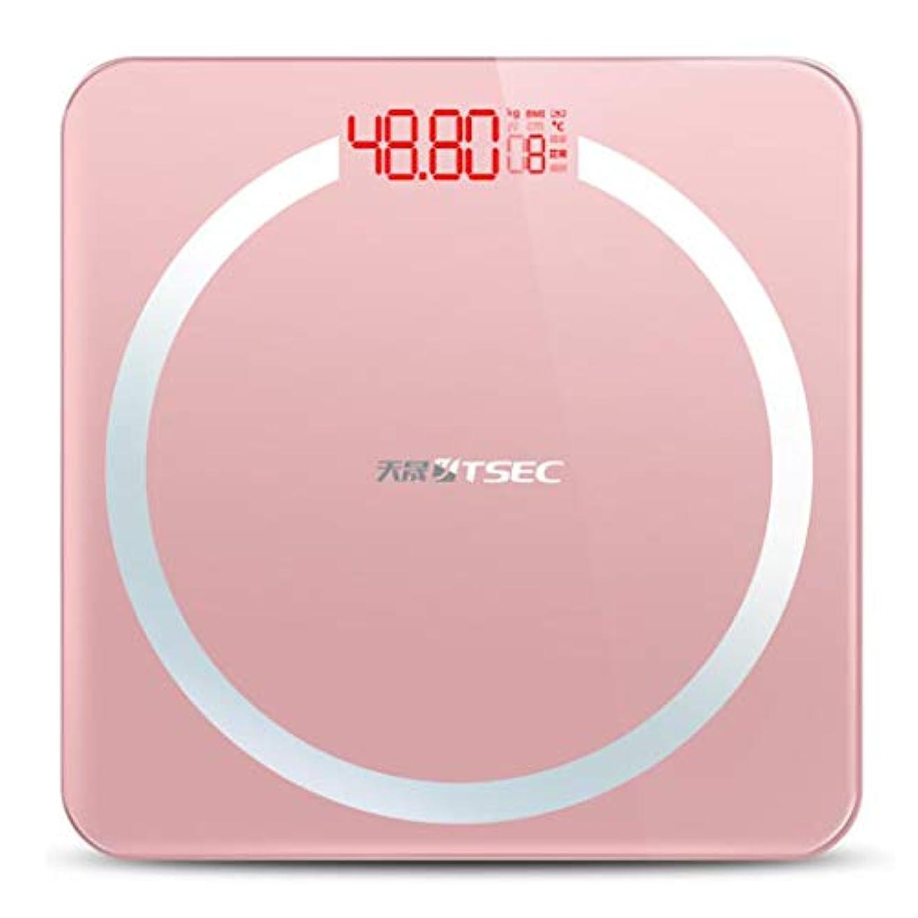 賞賛才能保守可能HSBAIS 体重計 体組成計、USB充電測定室温高精度測定,pink